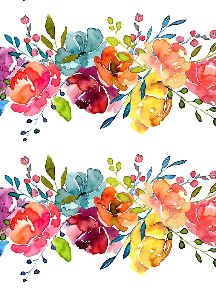 Bright Flowers Summer Watercolor Peonies by junkydotcom