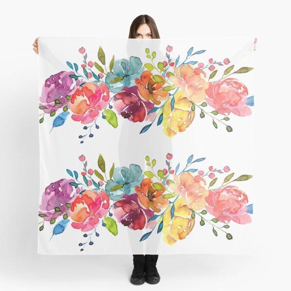 Bright Flowers Summer Watercolor Peonies Scarf