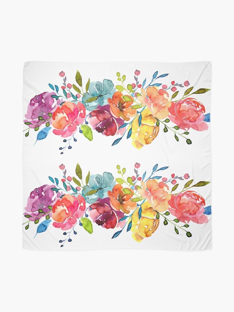 Alternate view of Bright Flowers Summer Watercolor Peonies Scarf