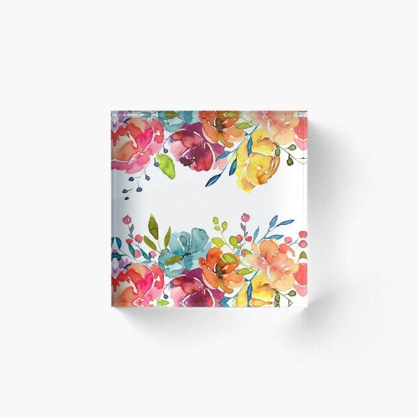 Pivoines aquarelles d'été fleurs lumineuses Bloc acrylique