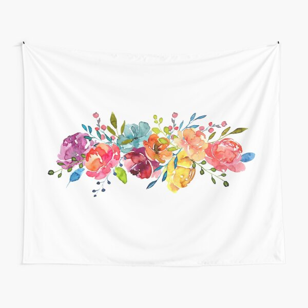 Bright Flowers Summer Watercolor Peonies Tapestry