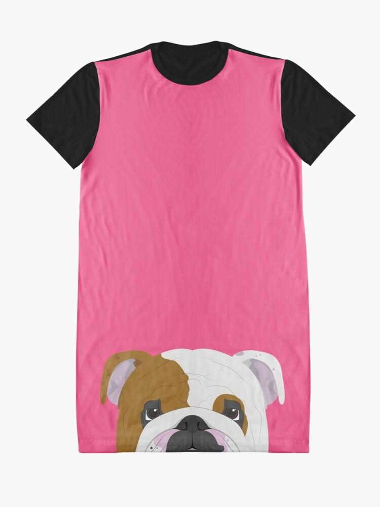 Alternate view of English Bulldog Cute Dog Portrait Illustration Graphic T-Shirt Dress