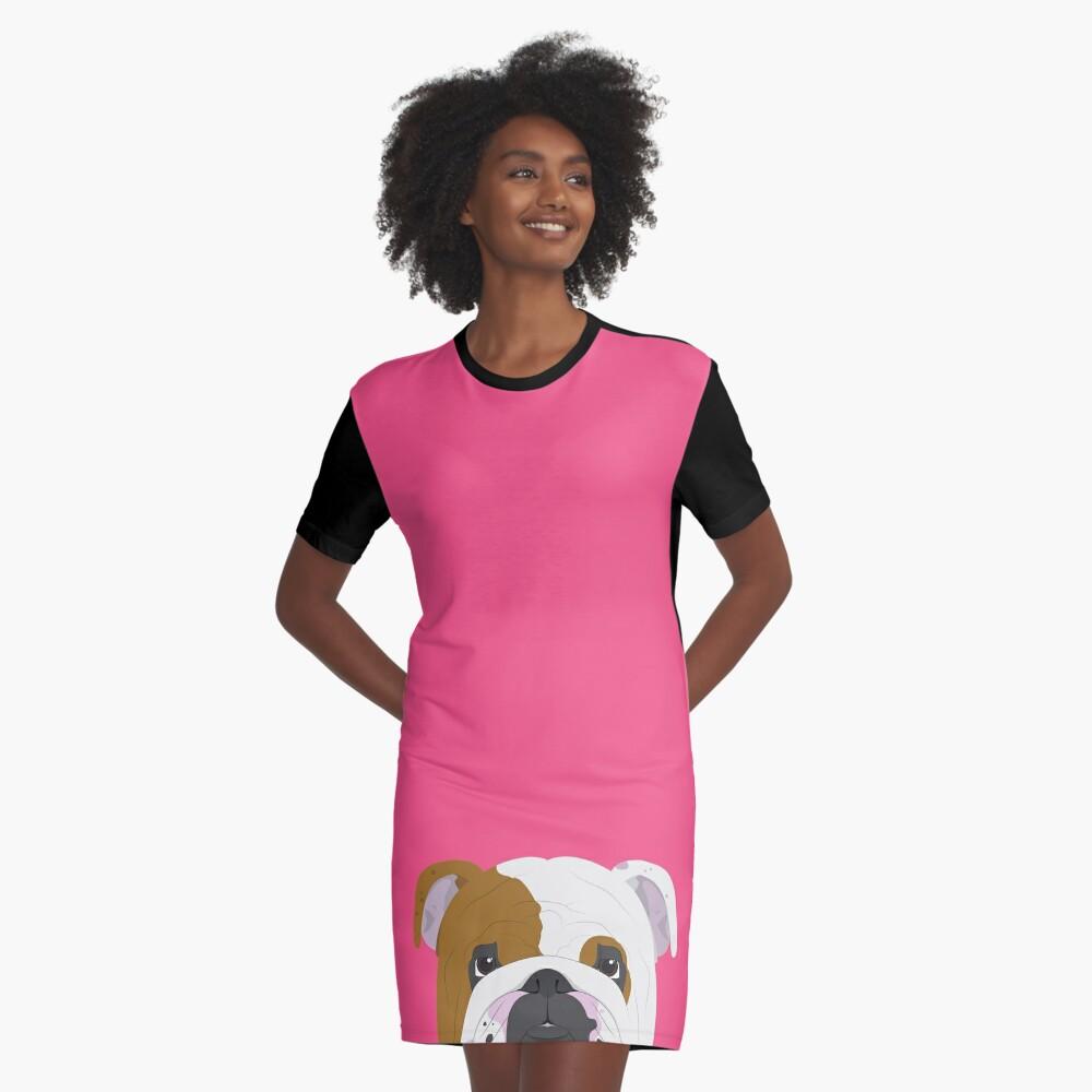 English Bulldog Cute Dog Portrait Illustration Graphic T-Shirt Dress