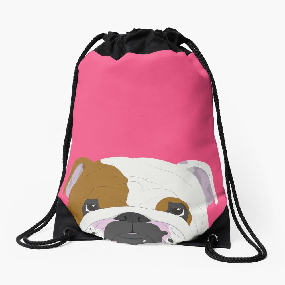 English Bulldog Cute Dog Portrait Illustration Drawstring Bag