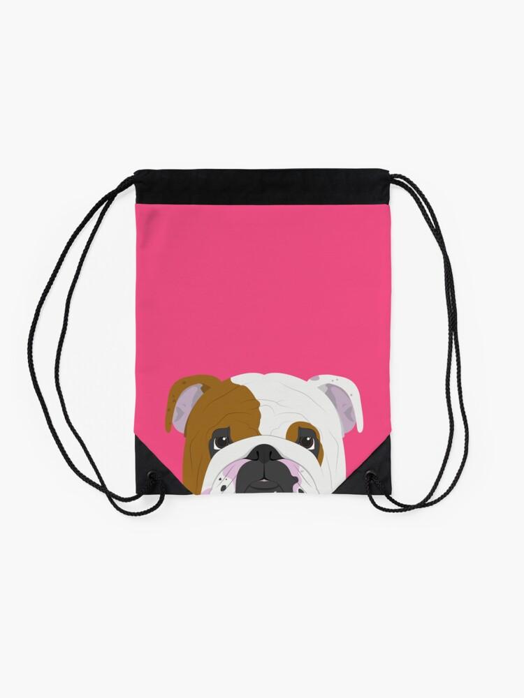 Alternate view of English Bulldog Cute Dog Portrait Illustration Drawstring Bag