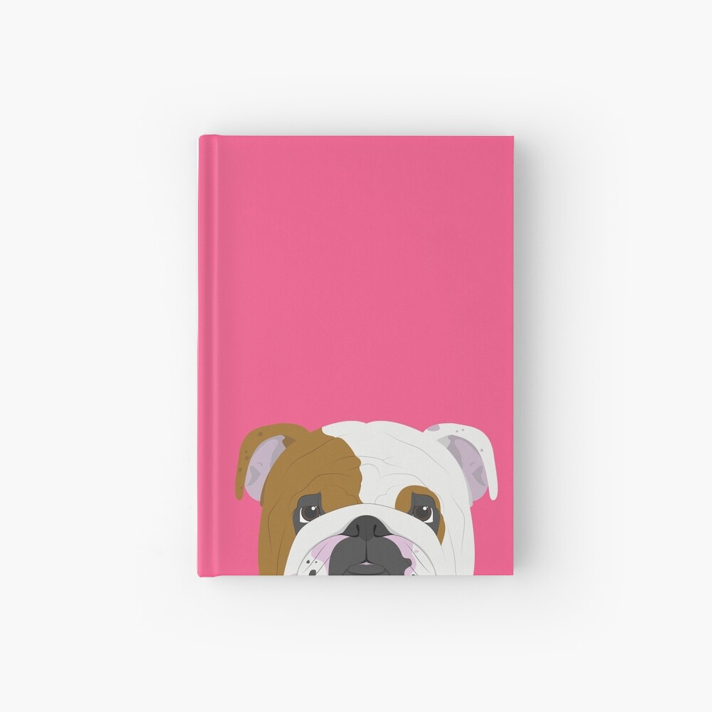 English Bulldog Cute Dog Portrait Illustration Hardcover Journal