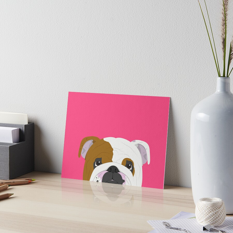 English Bulldog Cute Dog Portrait Illustration Art Board Print