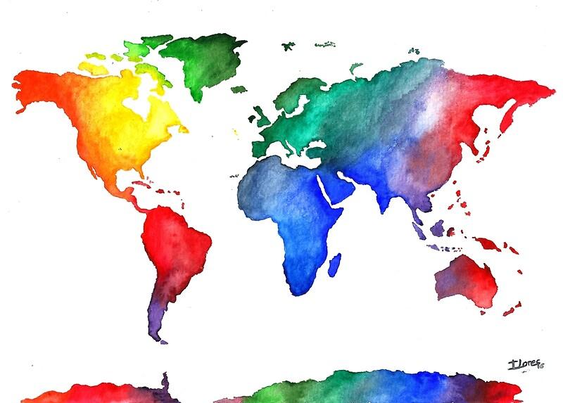 Psters mapamundi world map colorful travel watercolor de mapamundi world map colorful travel watercolor de iloresart gumiabroncs Choice Image