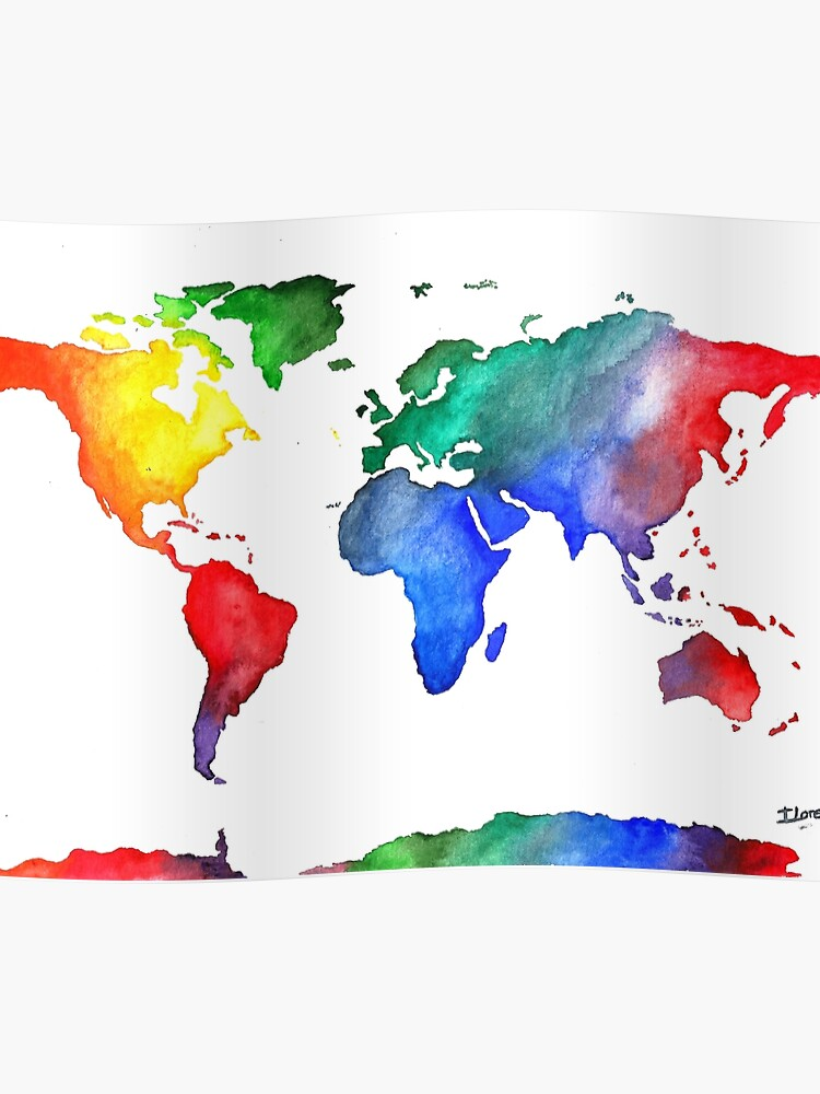 World Map World Map Colorful Travel Watercolor