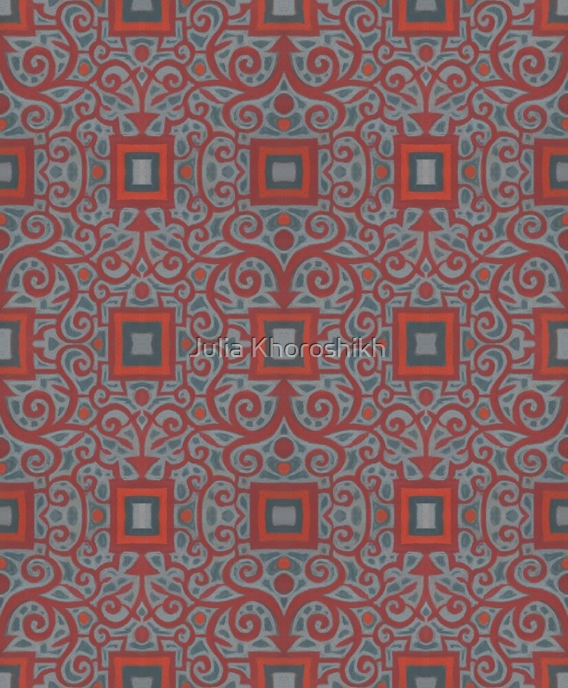 Squares and Lace, arabesque pattern, gray and terracotta by clipsocallipso