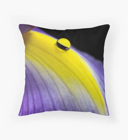 Droplet on Iris Throw Pillow