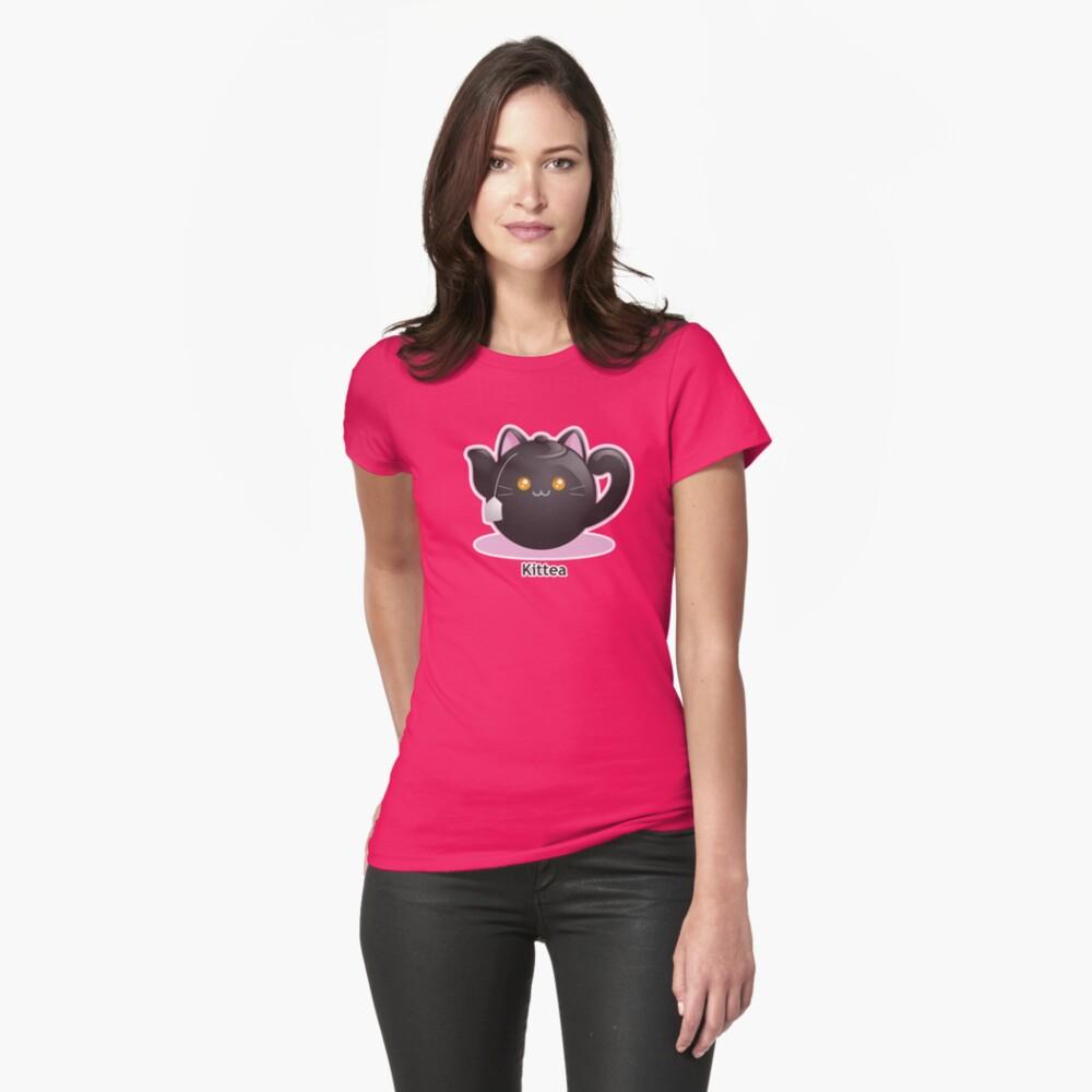 Cute Tea Pot Cat: Kittea Fitted T-Shirt