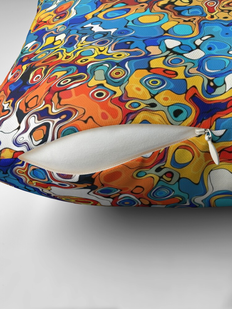 Alternate view of Orange And Blue Abstract Throw Pillow
