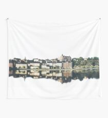 Town on White Background Wall Tapestry