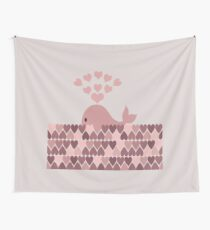 Whale Blowhole Hearts Wall Tapestry