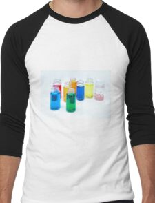 Glass bottles with coloured liquid at a Cosmetics manufacturer Men's Baseball ¾ T-Shirt