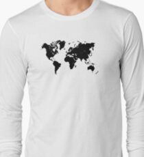 world map 94 black #worldmap #map #world Long Sleeve T-Shirt