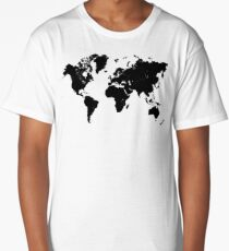 world map 94 black #worldmap #map #world Long T-Shirt
