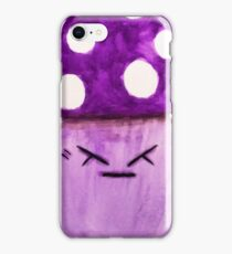 cute annoyed angry purple mushroom watercolor painting  iPhone Case/Skin