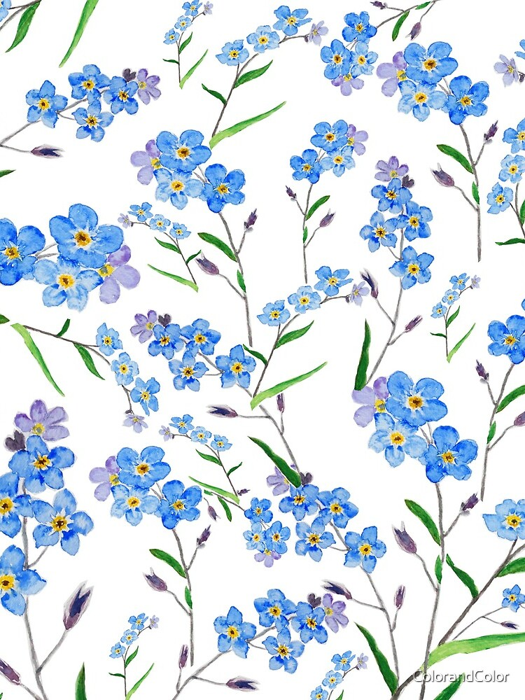 blue forget me not pattern  by ColorandColor