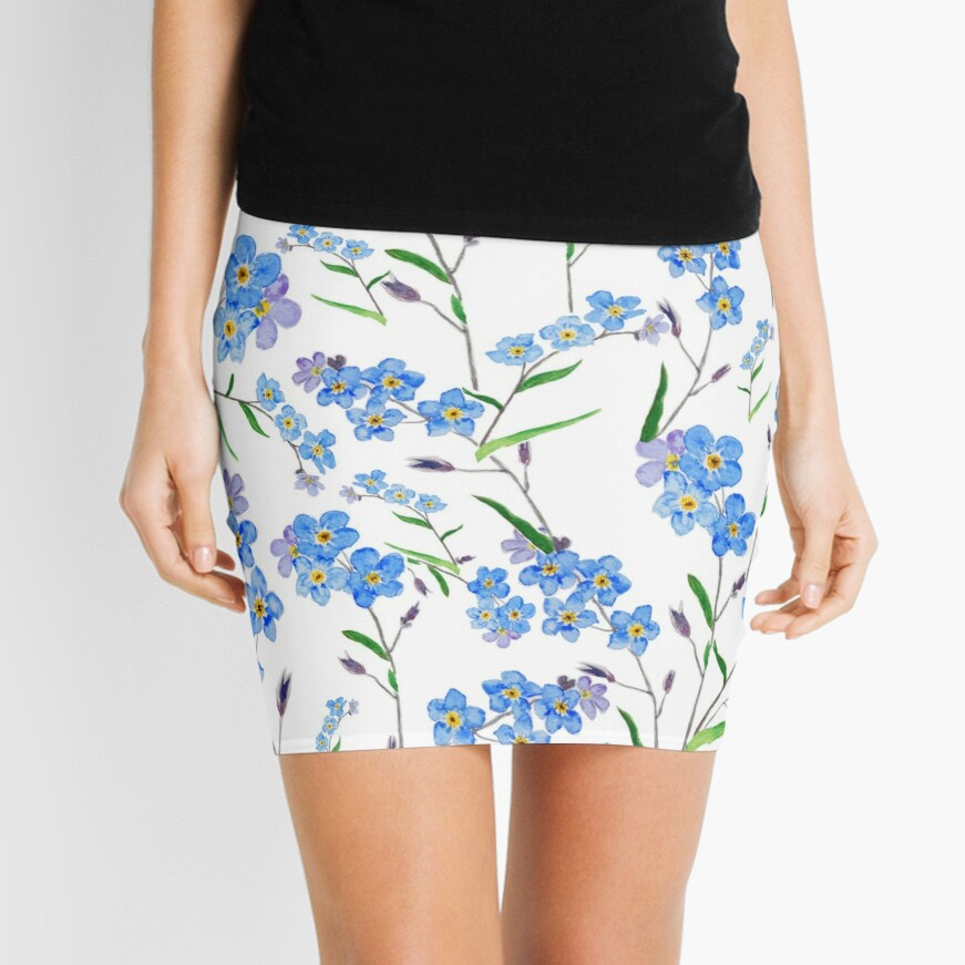 blue forget me not pattern  Mini Skirt