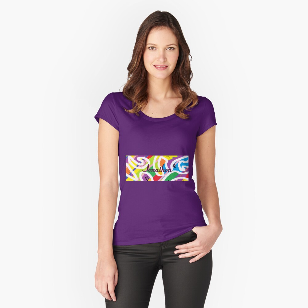 Jonathon -original artwork to personalize your gift Women's Fitted Scoop T-Shirt Front