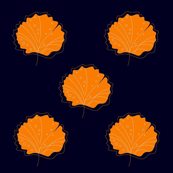 Luxury handdrawn Gingko Leaves on black by Bee and Glow Illustrations Shop