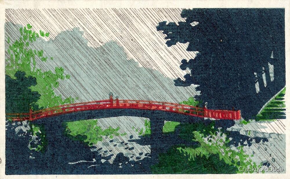 Rain Over Sacred Bridge Shinkyo - Konen Uehara - 1900 - woodcut by CrankyOldDude