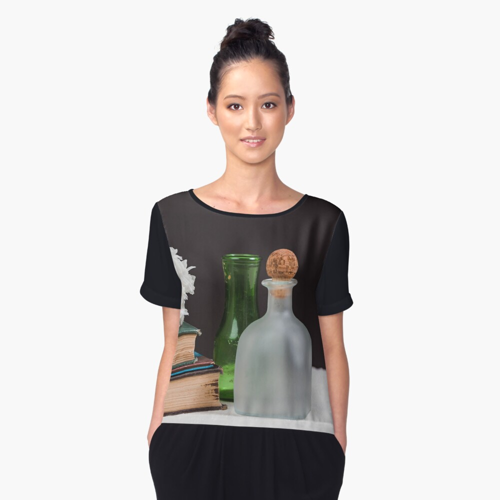 Vintage bottles, books and peony flower Women's Chiffon Top Front