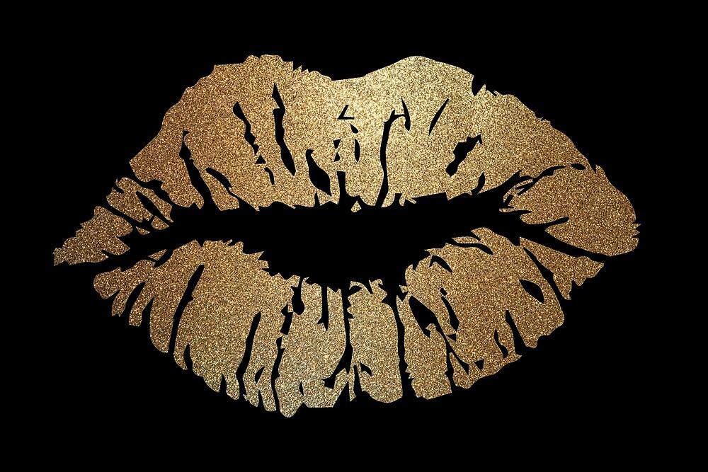 Golden Glitter Lips by pdgraphics