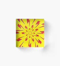 Yellow Lightning Vortex  Acrylic Block