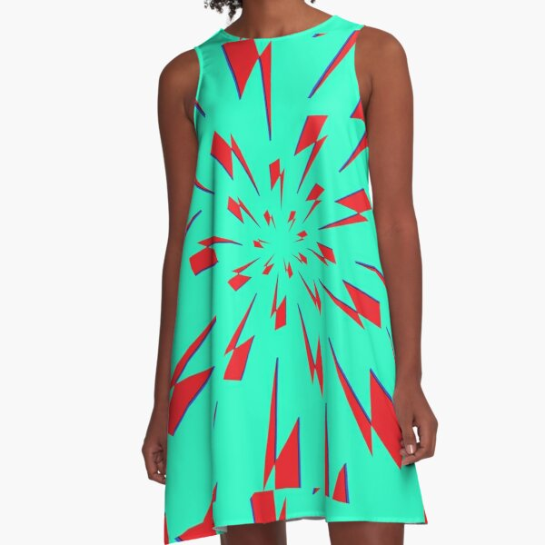 Aqua Lightning Vortex A-Line Dress