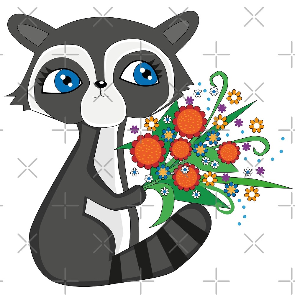Raccoon with bouquet by WACHtraum