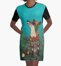 floral fox Graphic T-Shirt Dress