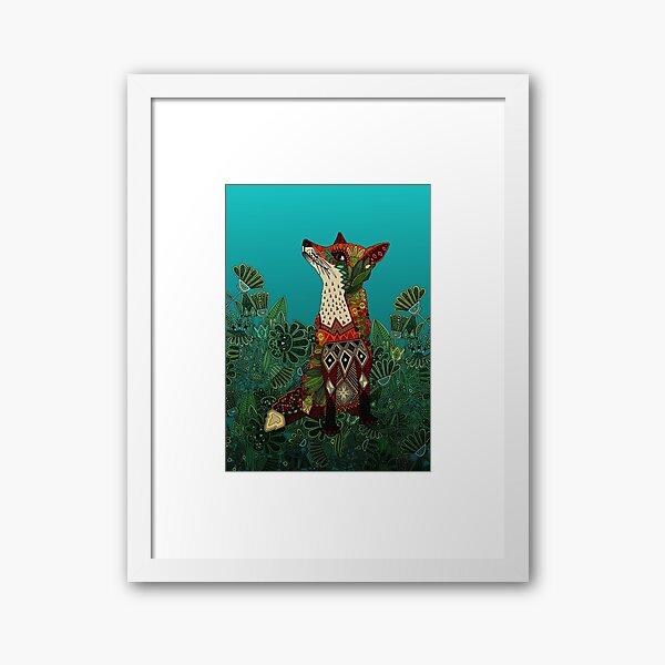 floral fox Framed Art Print
