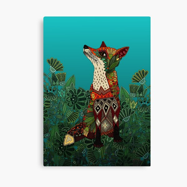 floral fox Canvas Print