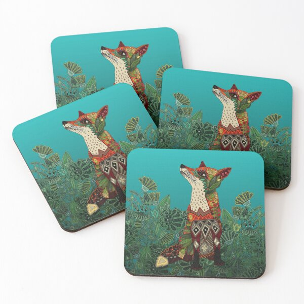 floral fox Coasters (Set of 4)