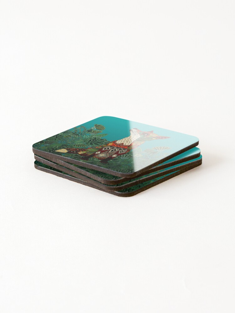 Alternate view of floral fox Coasters (Set of 4)