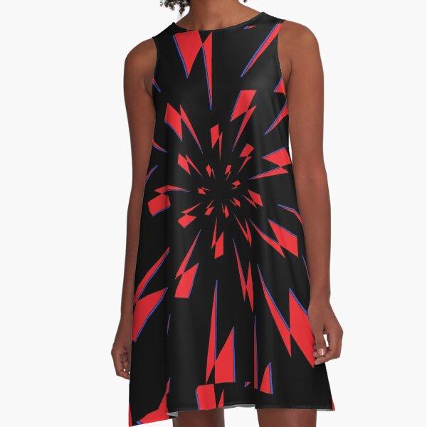 Black Lightning Vortex A-Line Dress
