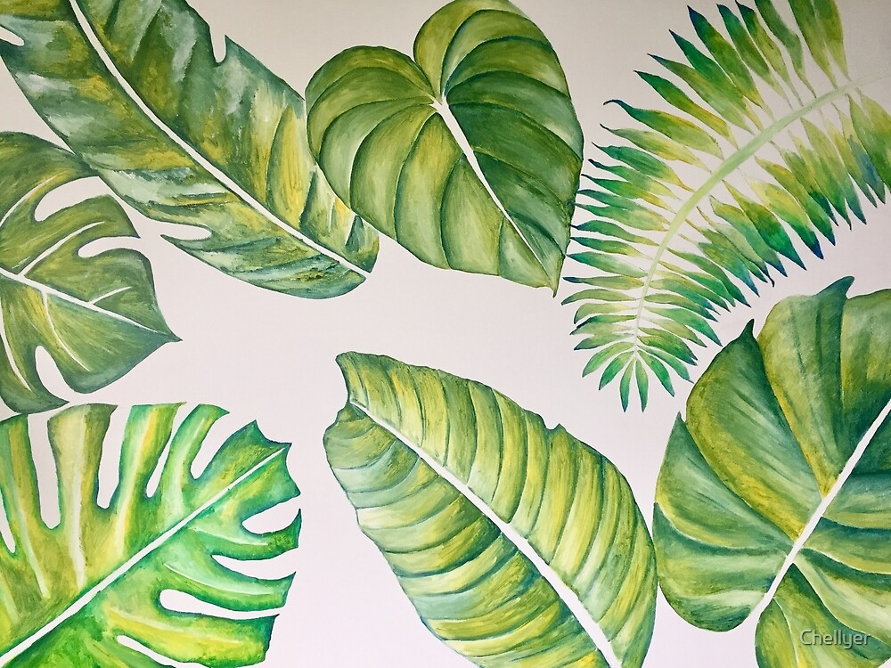 Acrylic painting of tropical leaves  by Chellyer