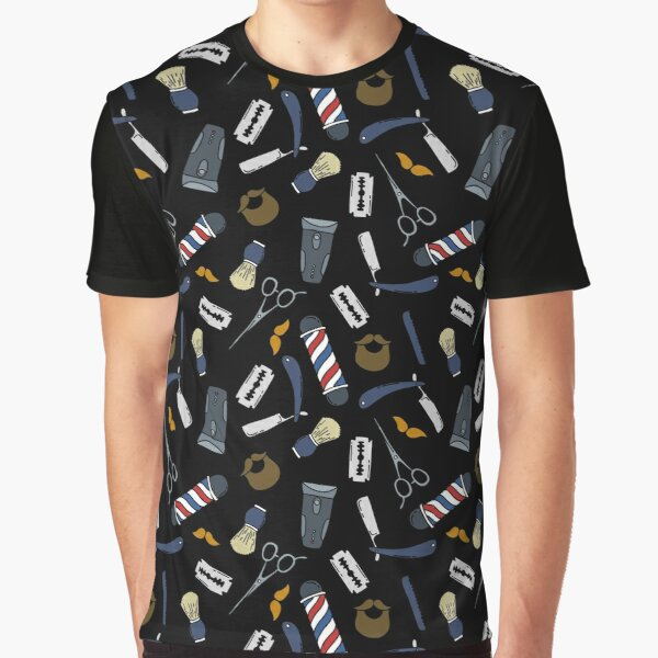 barbershop seamless doodle pattern Graphic T-Shirt