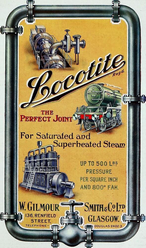 Vintage Locotite Steam Engine Advertisement by pdgraphics
