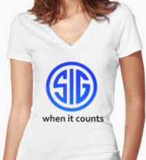 SIG Sauer Firearms Logo Women's Fitted V-Neck T-Shirt