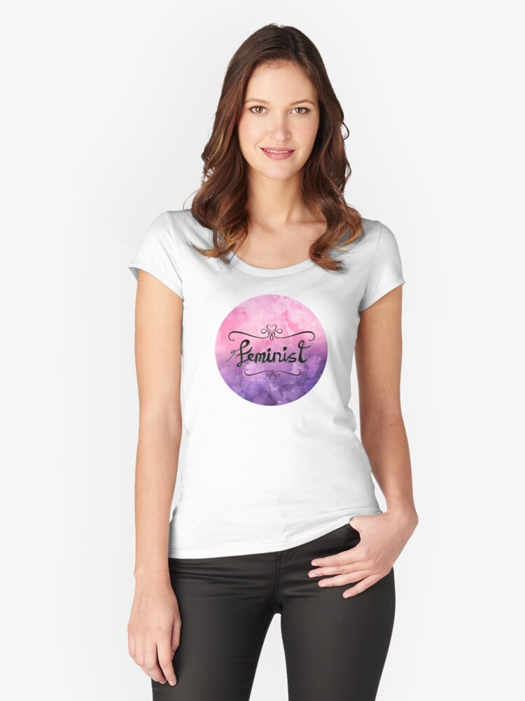 'Feminist' Hand Lettering in Pink and Purple Watercolour Frame Women's Fitted Scoop T-Shirt Front
