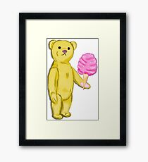 Bear with Cotton Candy Framed Print