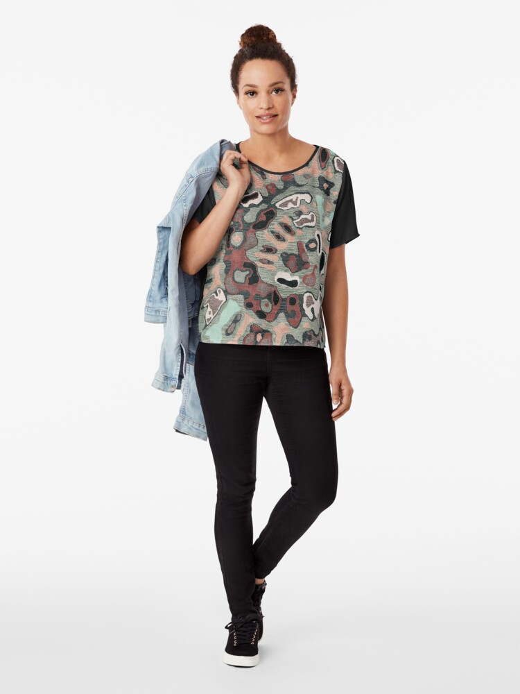 Alternate view of Art, Illustration, Modern, Contemporary, Psychedelic  Chiffon Top