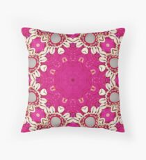 hippie chic bohemian indian pattern seashells pink fuschia mandala Throw Pillow