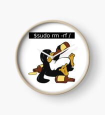 Funny Linux Command - Funny Linux shirts Linux Tux t-shirt  Clock