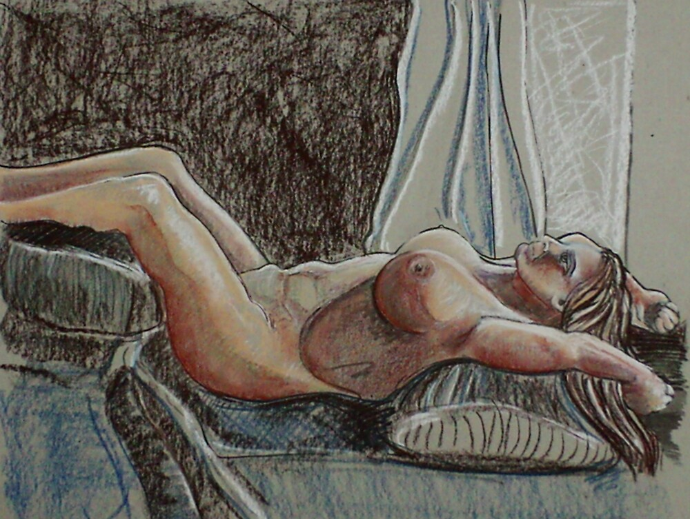 Laying Female Nude (Mixed Media in Progress)-   by Robert Dye