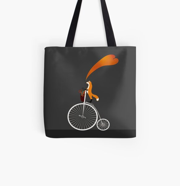 bicycle fox All Over Print Tote Bag